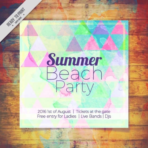Coloured summer beach party poster Free Vector