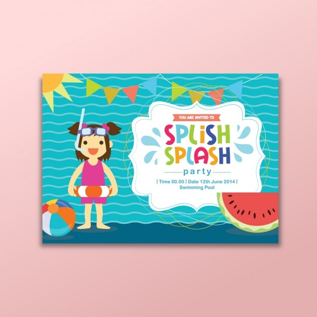 Coloured summer party invitation