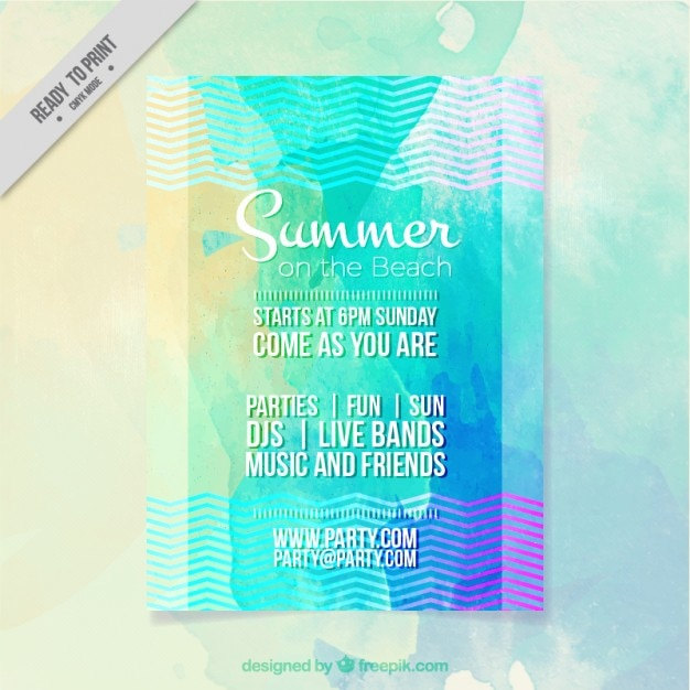 Coloured summer party poster Free Vector