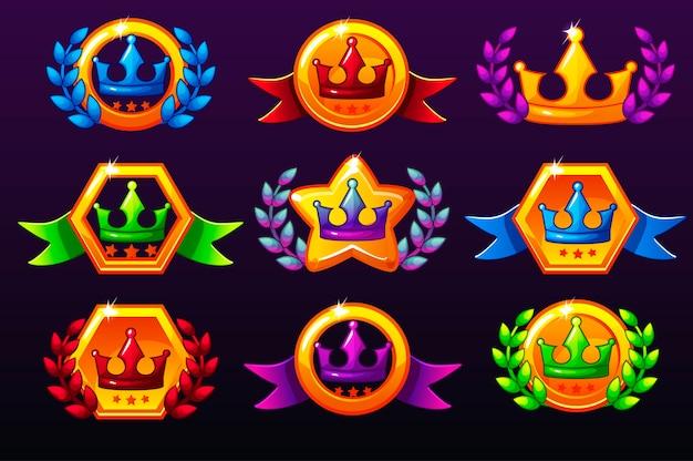 컬러 템플릿은 상을위한 왕관 아이콘, 모바일 게임 아이콘을 만듭니다. 프리미엄 벡터