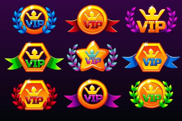 컬러 템플릿 수상을위한 Vip 아이콘, 모바일 게임용 아이콘 생성. 프리미엄 벡터