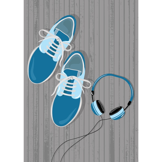 Coloured tennis and headphones