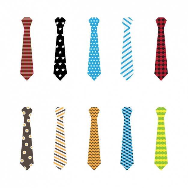 Coloured ties collection Free Vector
