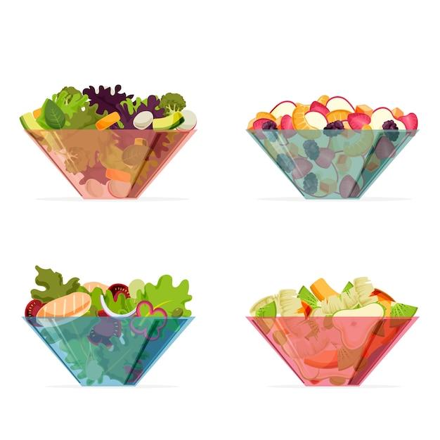 果物と色の透明なボウル 無料ベクター