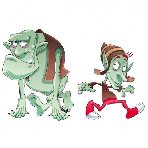 Coloured trolls design Free Vector