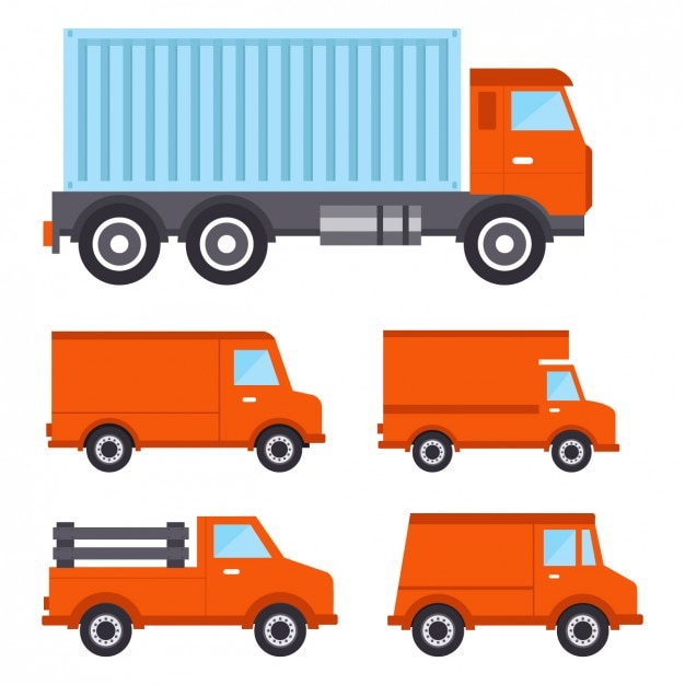 Coloured trucks collection Free Vector