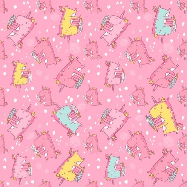 Coloured unicorns pattern Free Vector