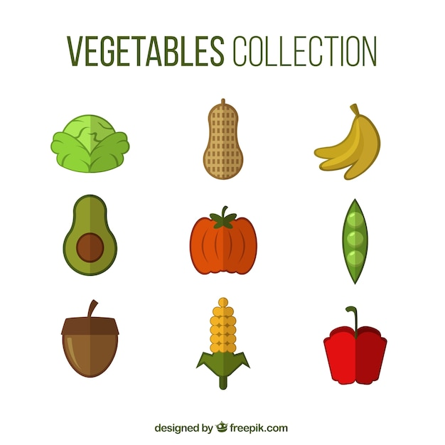 Coloured vegetable collection Free Vector