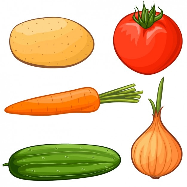 Coloured vegetables collection Free Vector