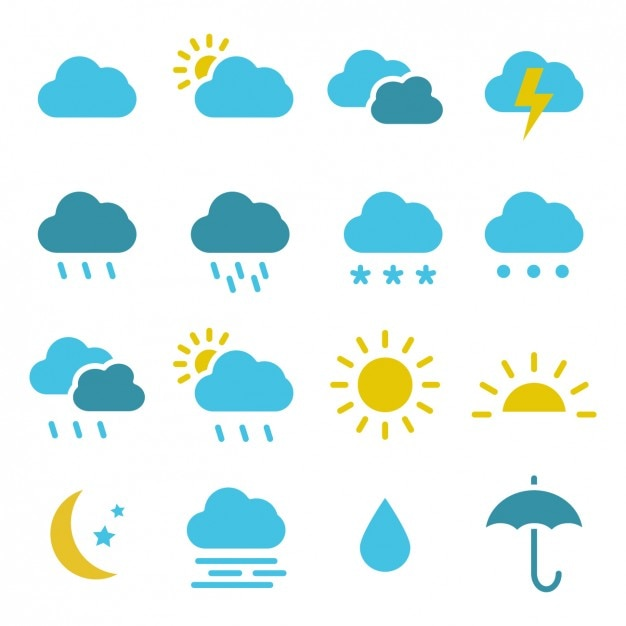 Coloured weather icons collection Free Vector