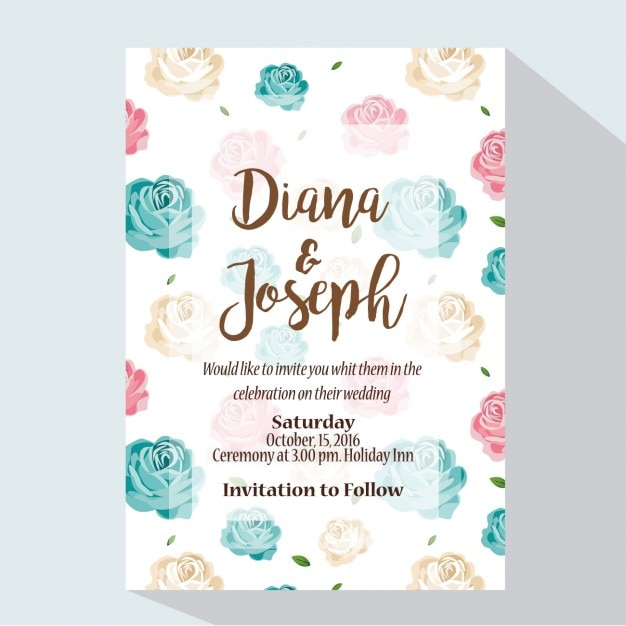 Coloured wedding invitation design Vector Free Download