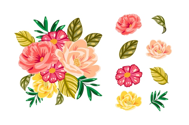Colourful 2d floral bouquet pack Free Vector