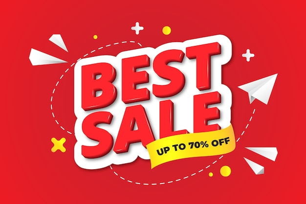 Colourful 3d sales background Free Vector