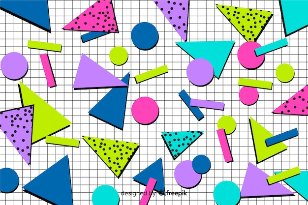 Colourful 80's geometric background Vector | Free Download