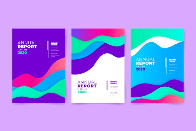Colourful abstract annual report with liquid effect Free Vector