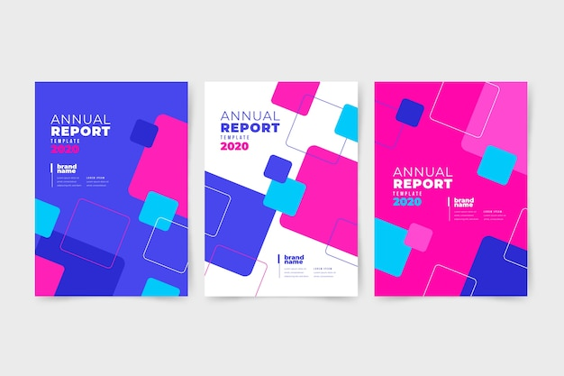 Colourful abstract annual report with squares Free Vector