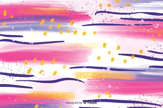 Colourful abstract brush strokes background Free Vector