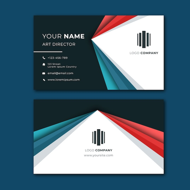 Colourful abstract business card Free Vector