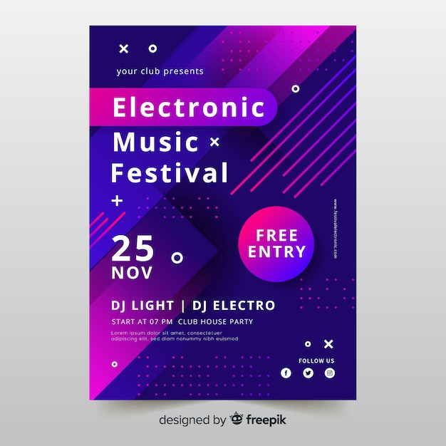 Colourful abstract electronic music poster template Free Vector