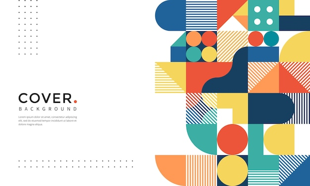 Colourful abstract geometric shapes background Premium Vector