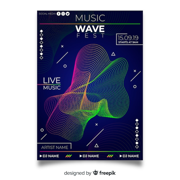 Colourful abstract music poster template Free Vector