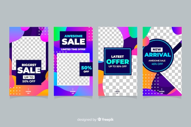Colourful abstract sale instagram stories collection Vector