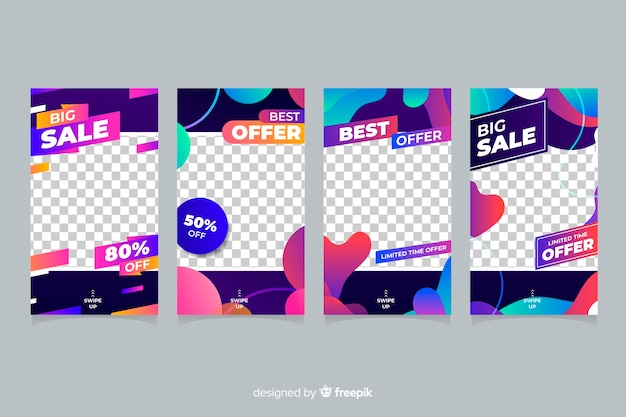 Colourful abstract sale instagram stories with transparent background Free Vector