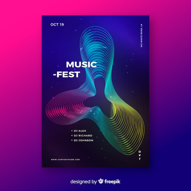 Colourful abstract waves music poster template Free Vector