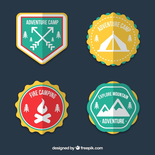 Colourful adventure badges