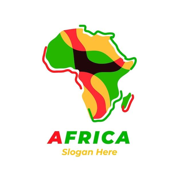 슬로건 자리 표시 자와 함께 다채로운 아프리카지도 로고 무료 벡터