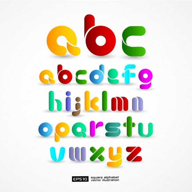 Colourful Alphabet Free Vector