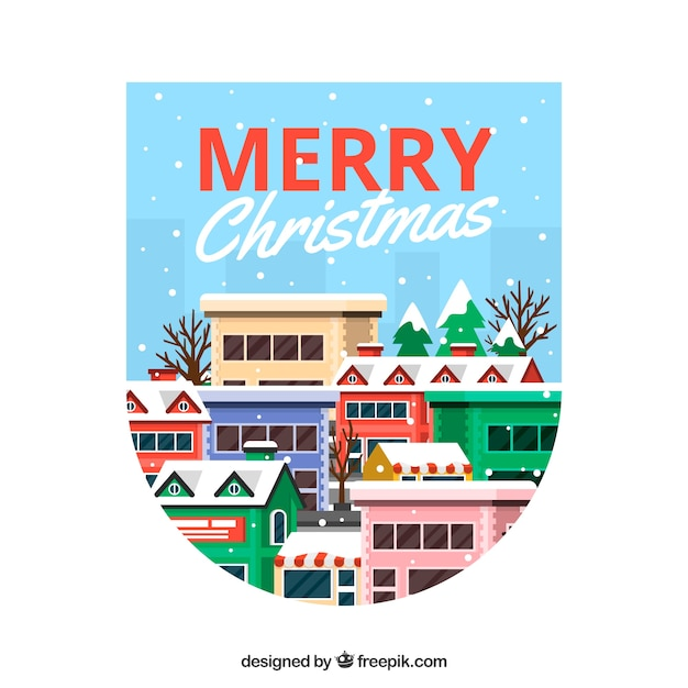 Colourful background for merry christmas with nice buildings