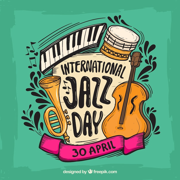 Colourful background for the international jazz day Free Vector