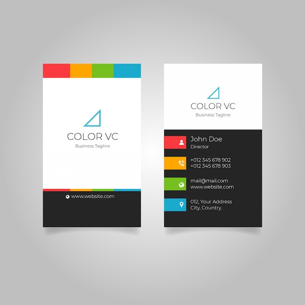 Colourful background vertical business card Premium Vector