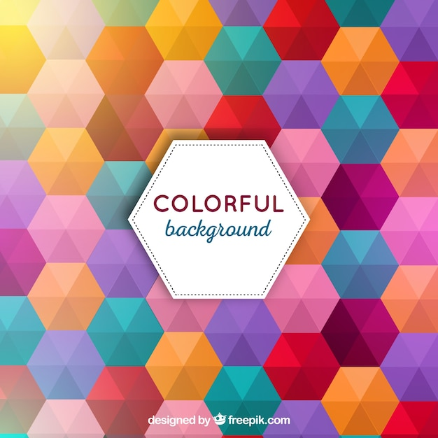 Colourful background with hexagons