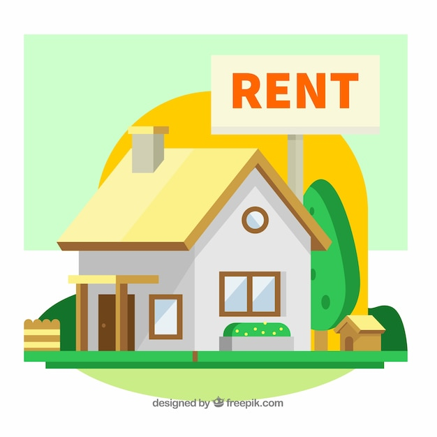 House Rent Com: Colourful Background With A House For Rent Vector