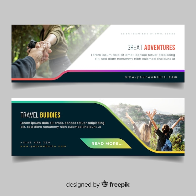 Colourful banners for travelling adventure with photo Premium Vector