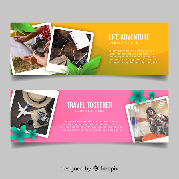 Colourful banners for travelling adventure Free Vector