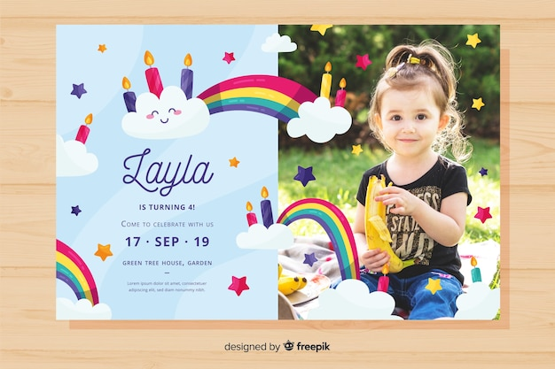 Colourful birthday invitation template Free Vector