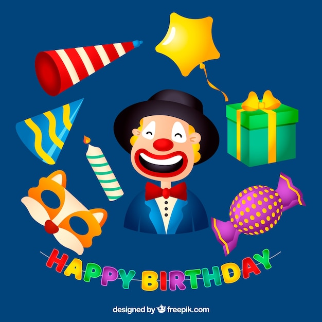 Colourful birthday party attributes Free Vector
