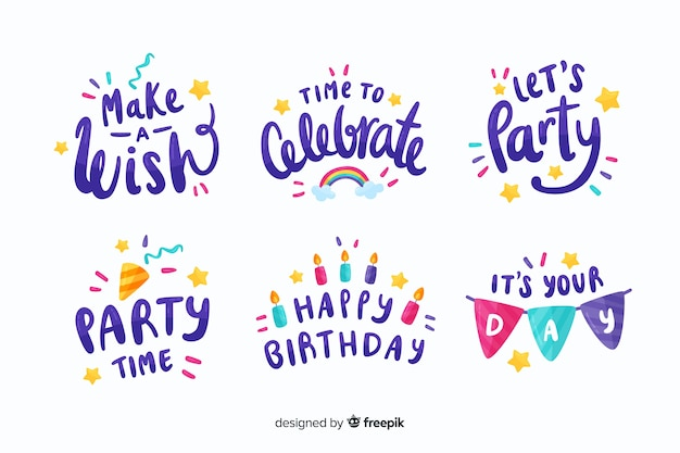 Colourful birthday stickers collection Free Vector