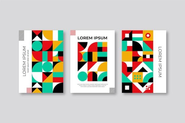 カラフルな本の抽象的な幾何学的なカバーコレクション 無料ベクター