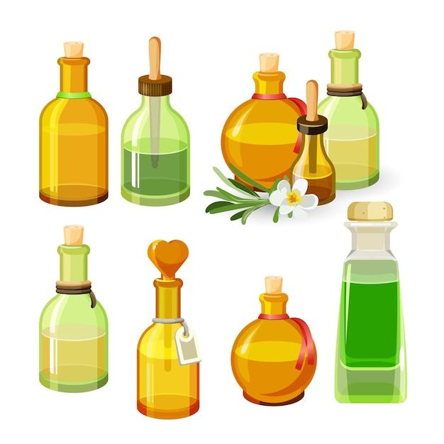 白い背景で隔離のアロマオイルとカラフルなボトル。ストッパー、長いピペットとラベル、葉を持つ花と丸くて細長い形のガラスの小瓶のイラスト Premiumベクター