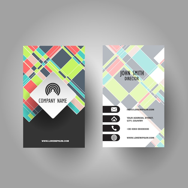 Colourful business card design Free Vector