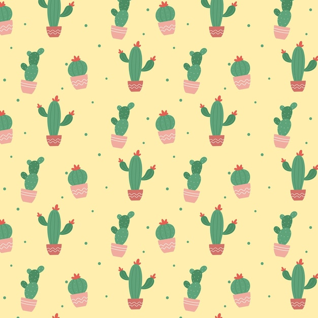 Colourful cactus plant pattern Free Vector
