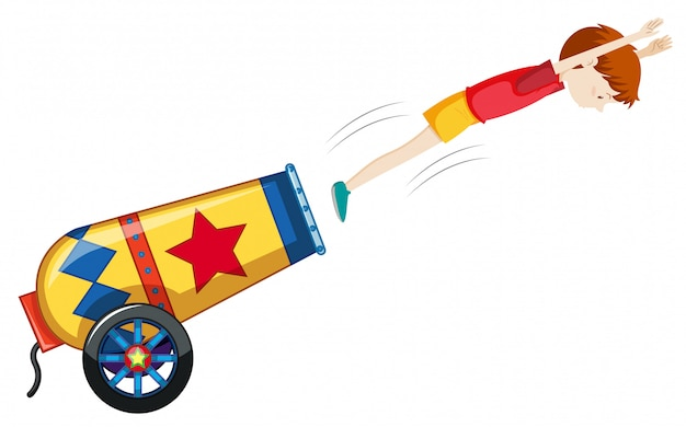 A colourful cannon on white background Free Vector