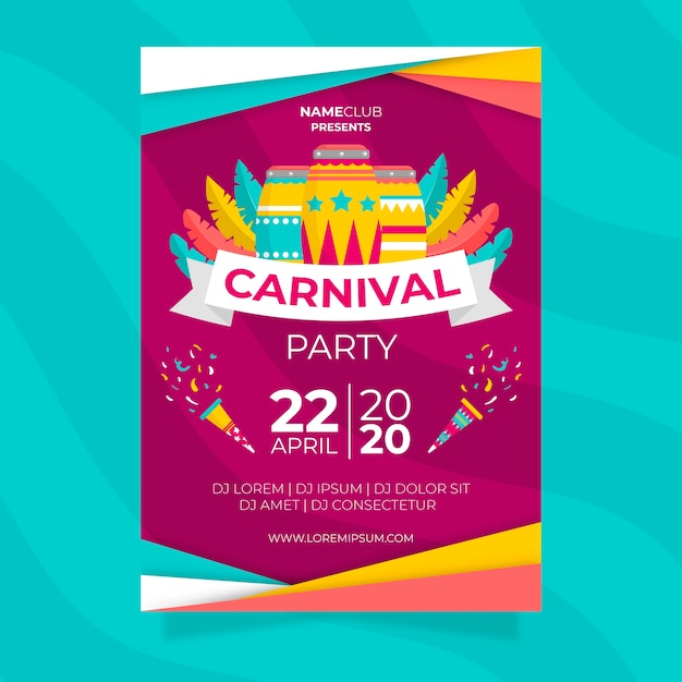 Colourful carnival party poster in flat design | Free Vector
