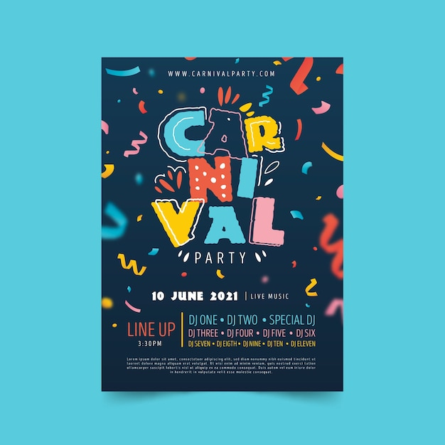 Colourful carnival poster hand drawn with ribbons Free Vector