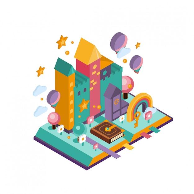 Красочный замок. изометрические иллюстрация Premium векторы