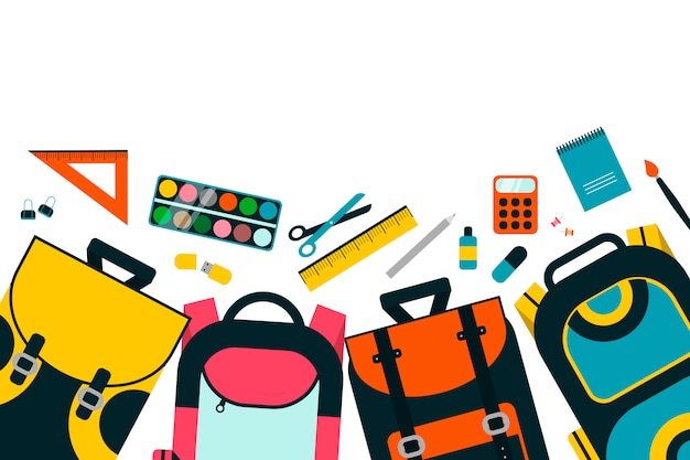 Colourful children schoolbags on white background. Premium Vector